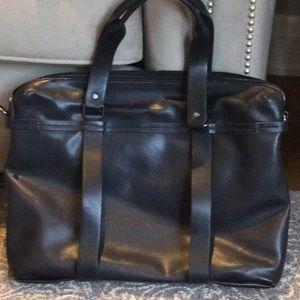 Zara navy blue leather tote